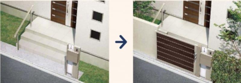 玄関アプローチに階段があったり、敷地が狭い場合などにも取り入れることができる。undefined[アウタースライド]undefinedLIXILundefinedhttp://www.lixil.co.jp/