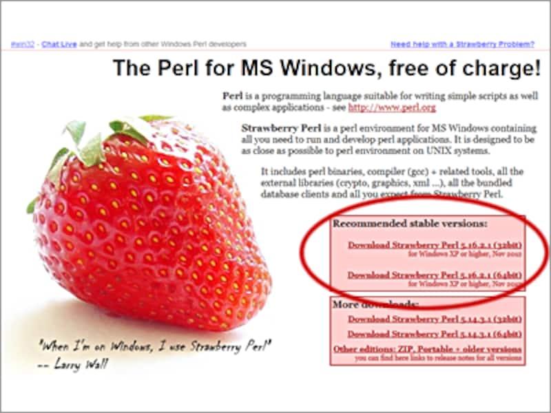 「StrawberryPerl」サイト