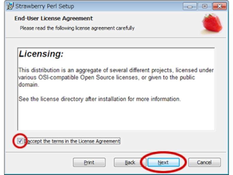 StrawberryPerlのインストール画面(2)ライセンスへの同意