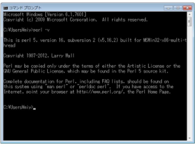 WindowsコマンドプロンプトからのPerlバージョン確認