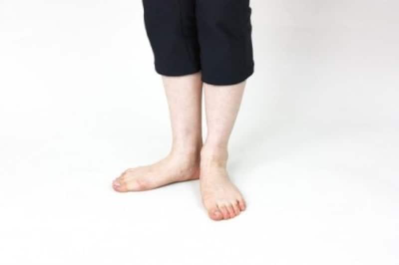 立ち姿勢で右足のつま先を外に向けます