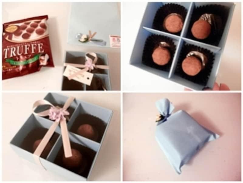 100円ショップのチョコレートを利用したバレンタインラッピング