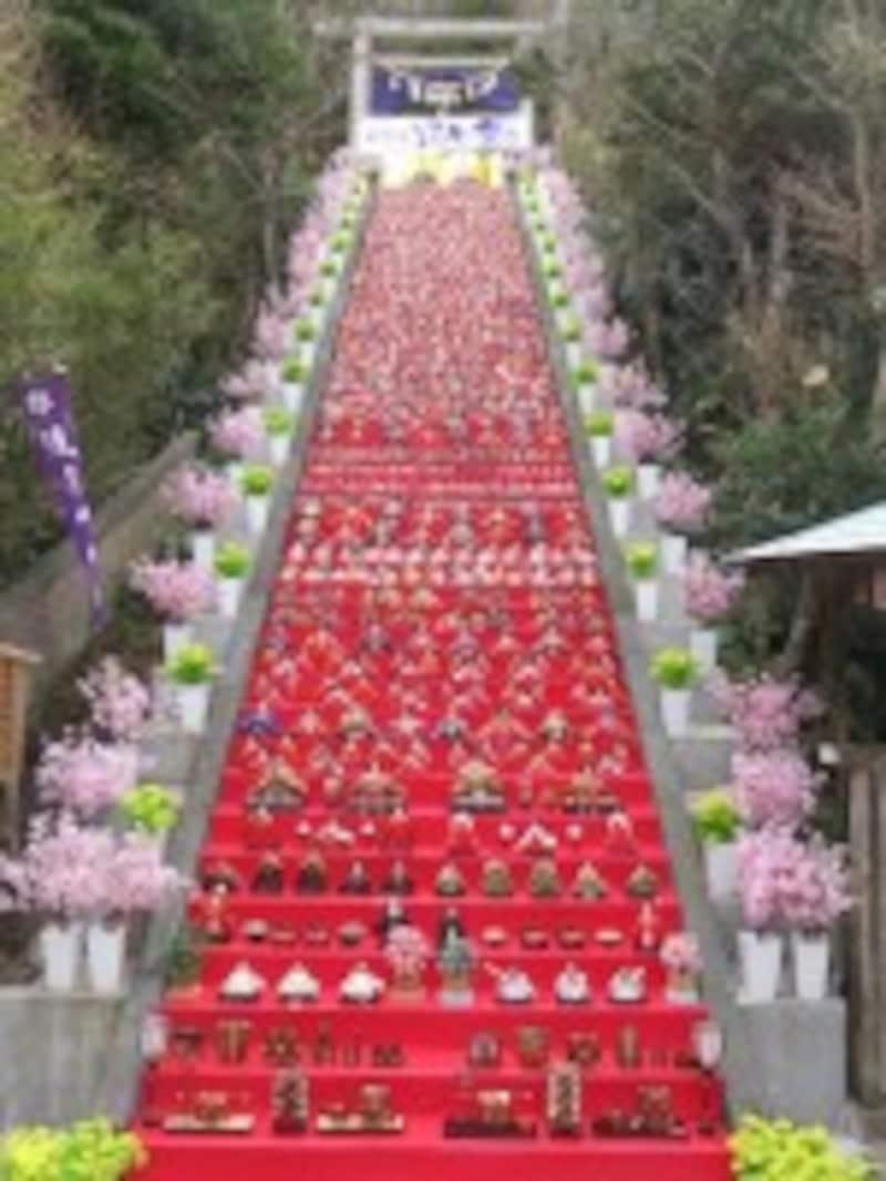 雛祭りイベント 「かつうらビッグひな祭り」で、遠見岬神社の石段にずらりと並んだひな人形。