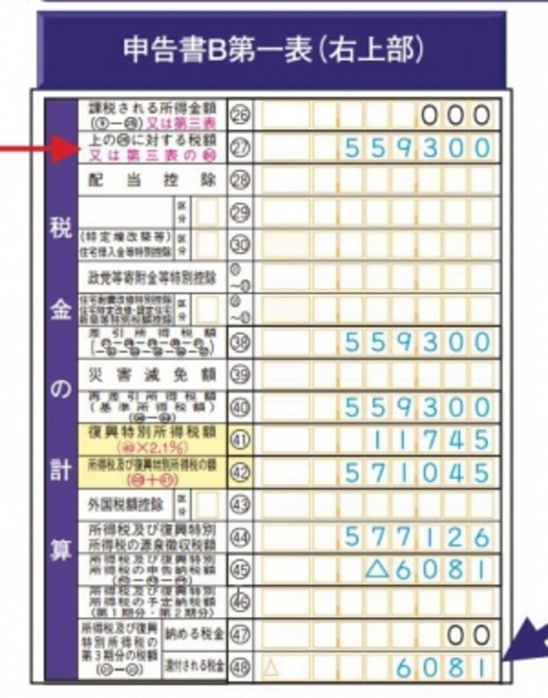 配当で徴収済みの税金が還付対象に(出典:国税庁記載例)