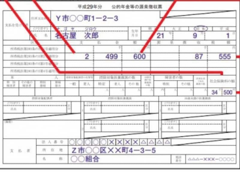 公的年金源泉徴収票の記載例(出典:国税庁記載例より)