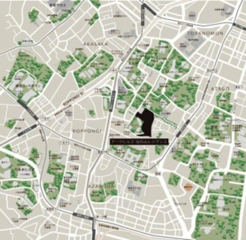 「アークヒルズ仙石山レジデンス」周辺案内図
