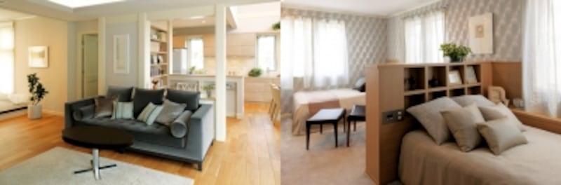 【左】広々としたLDK。吹抜けで「光もシェア」【右】緩やかに区切った寝室。互いの気配を感じつつ、自由に過ごせるような空間づくりがポイント