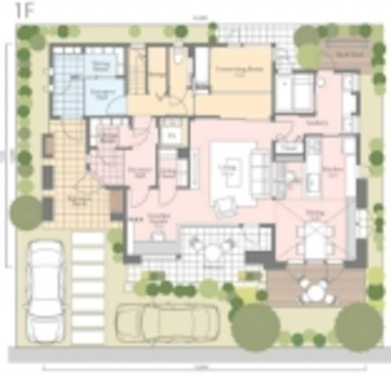 【1F】親世帯スペースが1階と2階の一部、子世帯スペースが2階と3階の二世帯住宅の間取り(クリックで拡大)