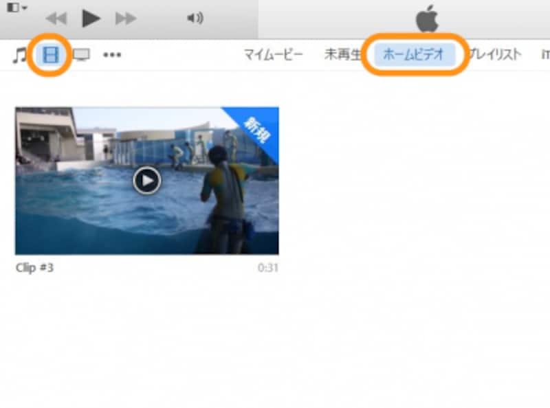 フィルムのアイコンをクリックし、[ホームボタン]をクリックすると、取り込んだ動画が表示される