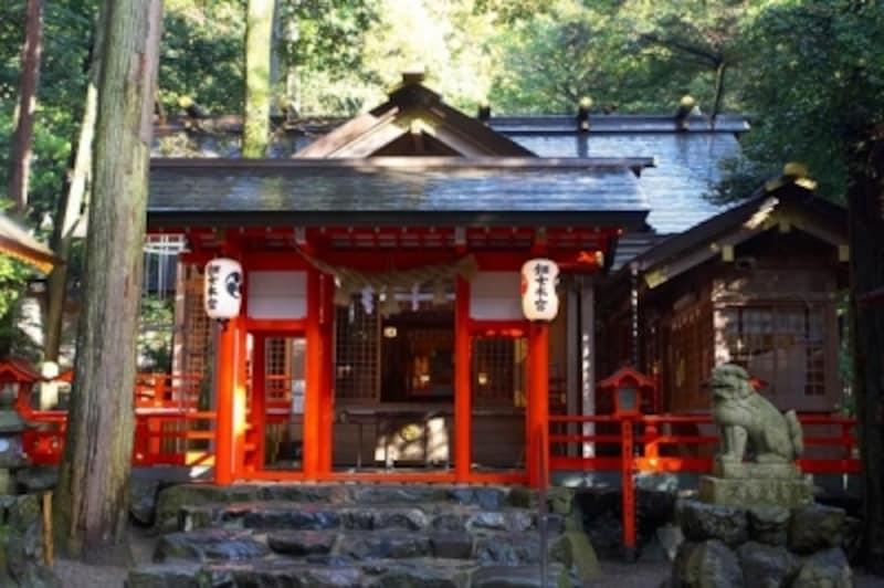 縁結びや芸事にご利益があるとされる、別宮椿岸神社