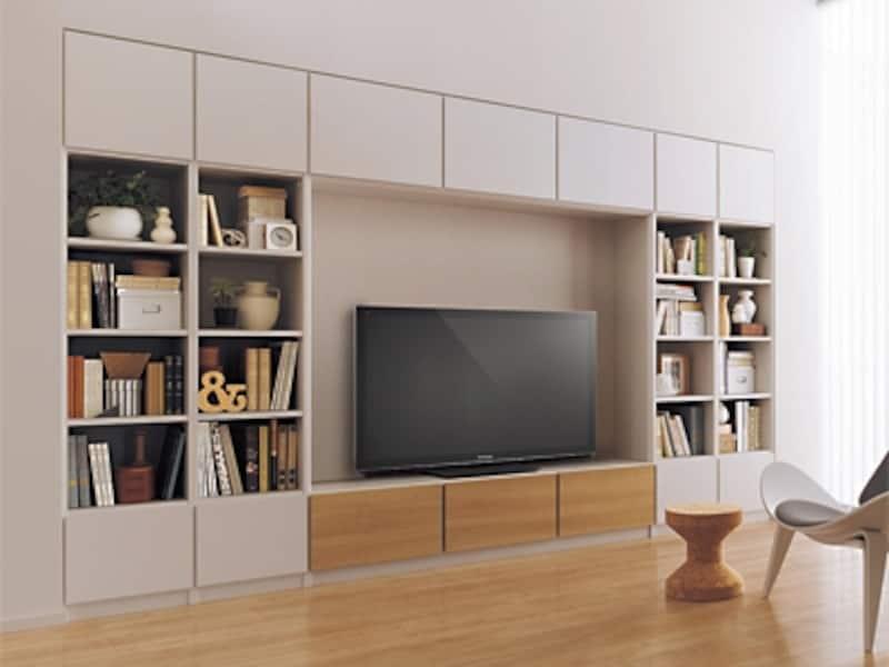 壁面収納にリフォームすれば、収納効率、掃除効率が上がるだけでなく、地震にも強くなる。全てに扉を付けることも可能。耐震ラッチも忘れずに(パナソニック)