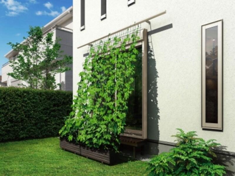 簾やよしずを設置することができるアイテム。つる植物を這わせてグリーンカーテンをつくることも。[グリーンバーゴーヤバーとして利用H2]undefinedYKKAP