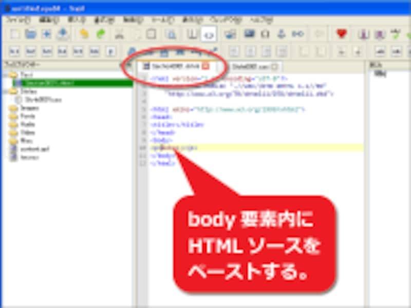 body要素内にHTMLソースを貼り付け