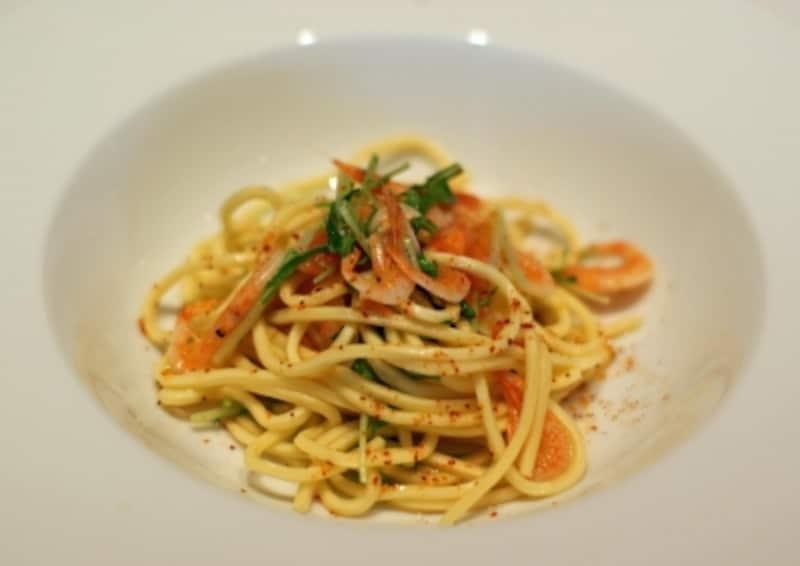 桜海老と水菜のタリオリーニ