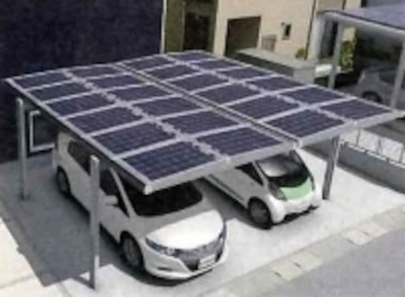 undefinedカーポートの屋根に載せる太陽光発電(三協アルミ)