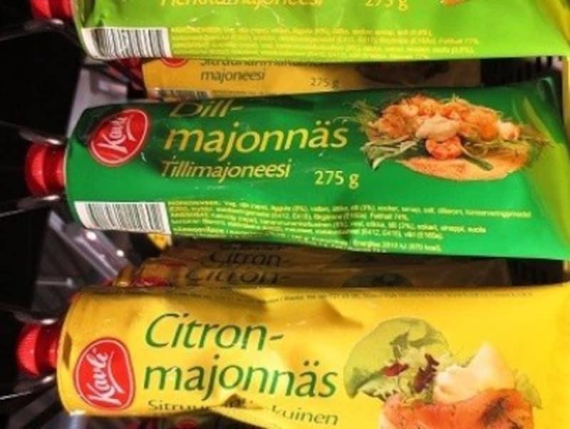 チューブ入りのマヨネーズもあります。こちらは、一般的なマヨネーズから、スウェーデンらしい、レモン入りのマヨネーズとDILL(ディル)というハーブの入ったマヨネーズが売っています。