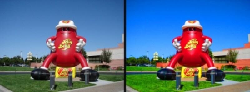 色鮮やかに誇張された映像の例(右)