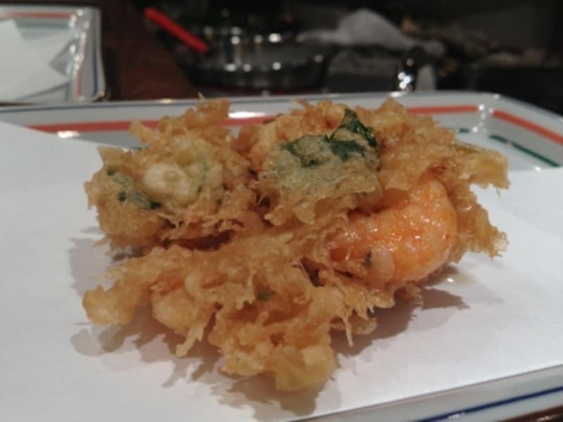 天ぷら(宝)のラストはかき揚げ