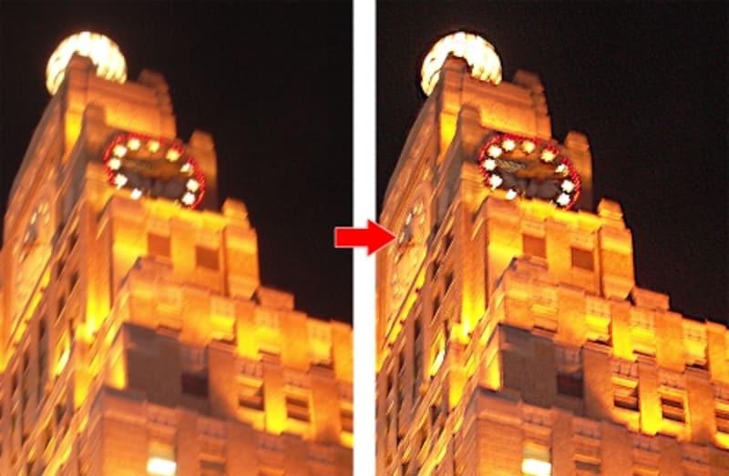 左が手ぶれした写真。右が補正後。よくあるブレた夜景も輪郭をくっきり!