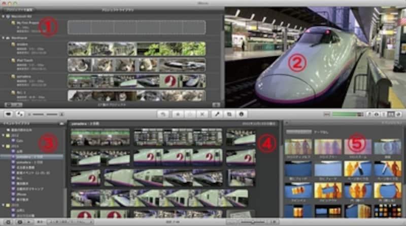 iMovieの編集画面概要