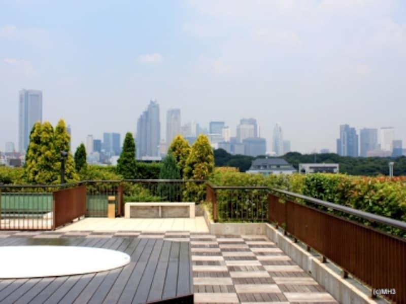 「フォレストテラス松濤」屋上テラス。代々木公園(左)越しに西新宿の超高層ビル群を望む