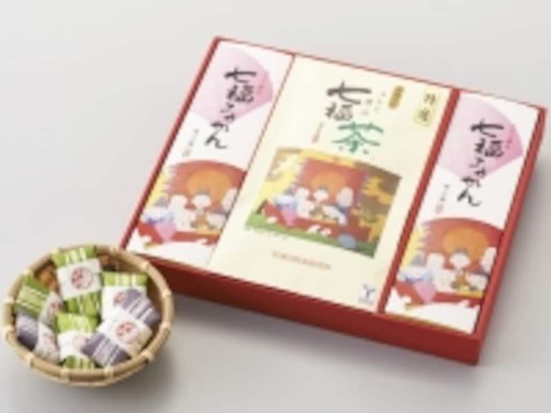 特選金箔入りみなと横浜七福茶(1本70g入1260円、セット3150円)