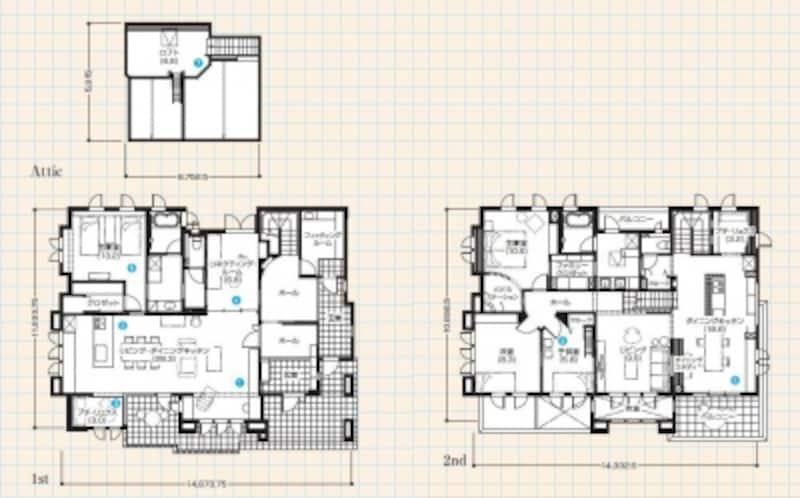 このモデルハウスは、1階が親世帯、2階とロフトが子世帯のスペース。両階ともLDK・主寝室・サニタリーへと回遊できる動線が特徴【クリックで拡大します】