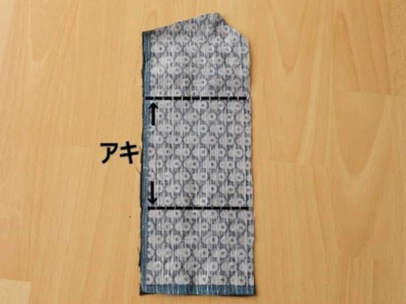 中表に合せて、アキ以外の周囲を縫う