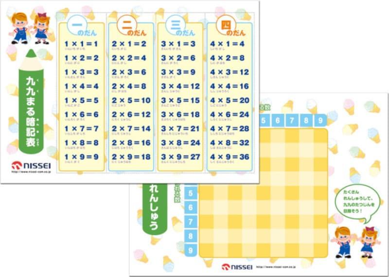 九九表・九九カード無料ダウンロード日世ソフトクリームランド