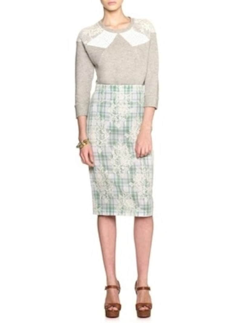 N21 numero ventuno(ヌメロ・ヴェントゥーノ)/Green Check Lace Pencil Skirt
