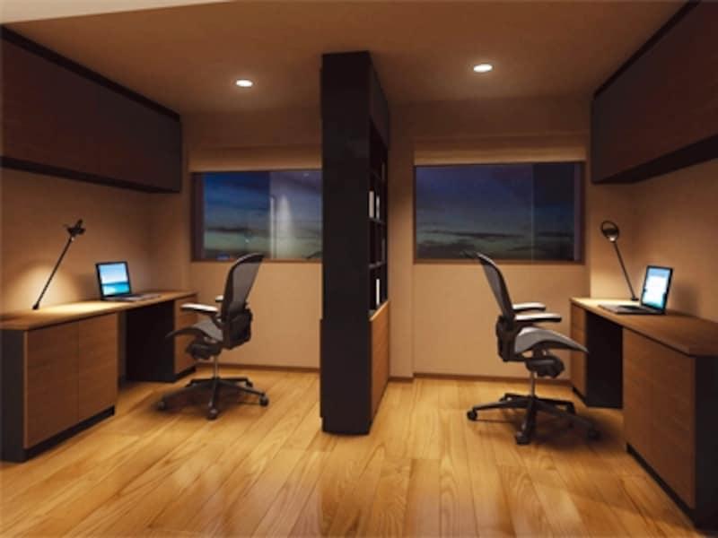 2人のための書斎。個室感覚を高めたいなら、2人の間を家具やツイタテで間仕切って(永大産業)