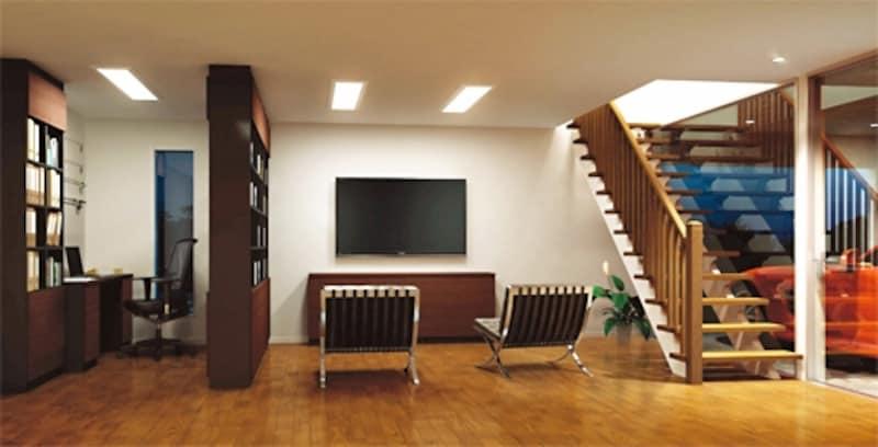 空き部屋をこだわりの趣味部屋に。造作家具で間仕切って書庫のような雰囲気の書斎スペースとホームシアターを楽しむスペースに(永大産業)