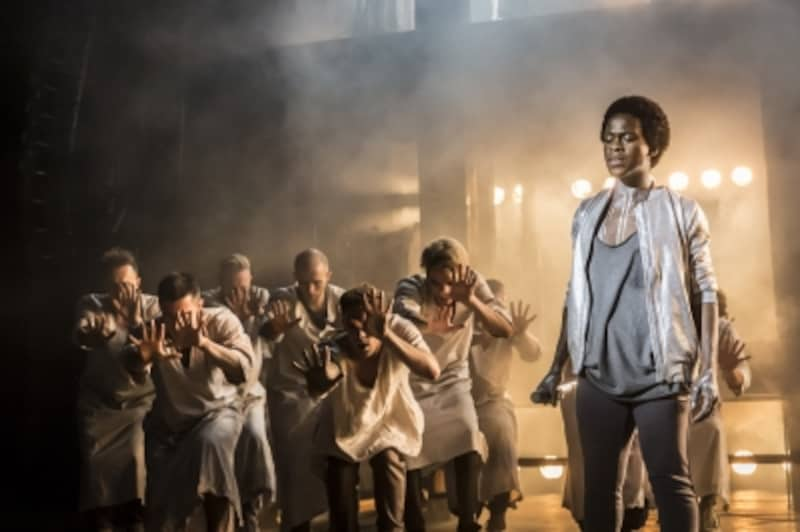 Tyrone Huntley as Judas and Ensemble Photo Johan Persson