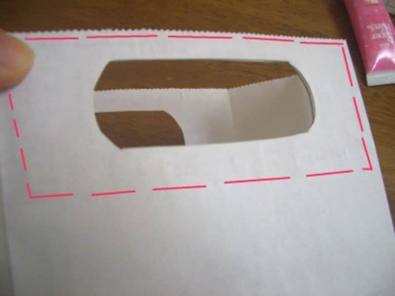厚紙と紙袋を貼り合せる