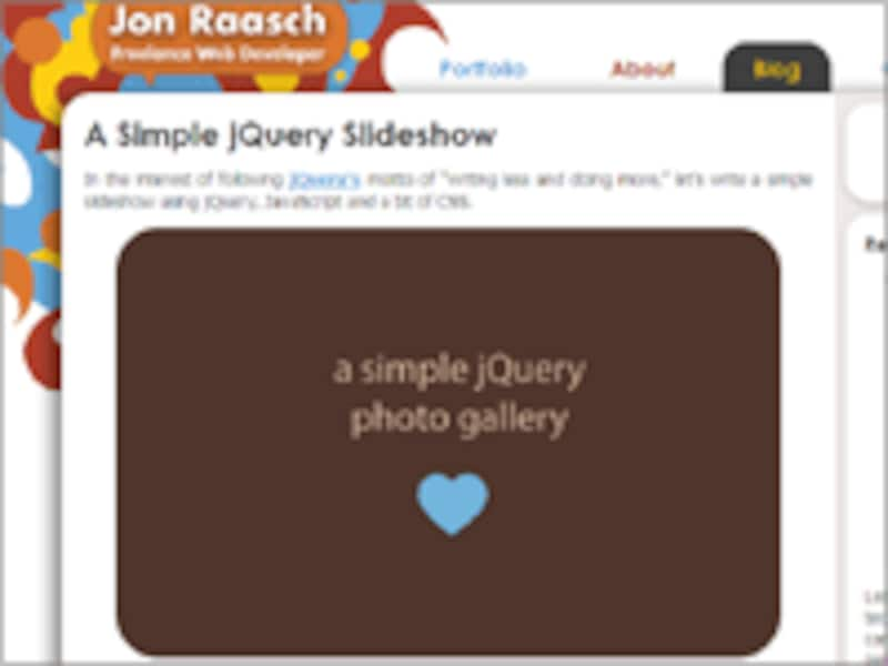 「A Simple jQuery Slideshow」スクリプトの公開サイト