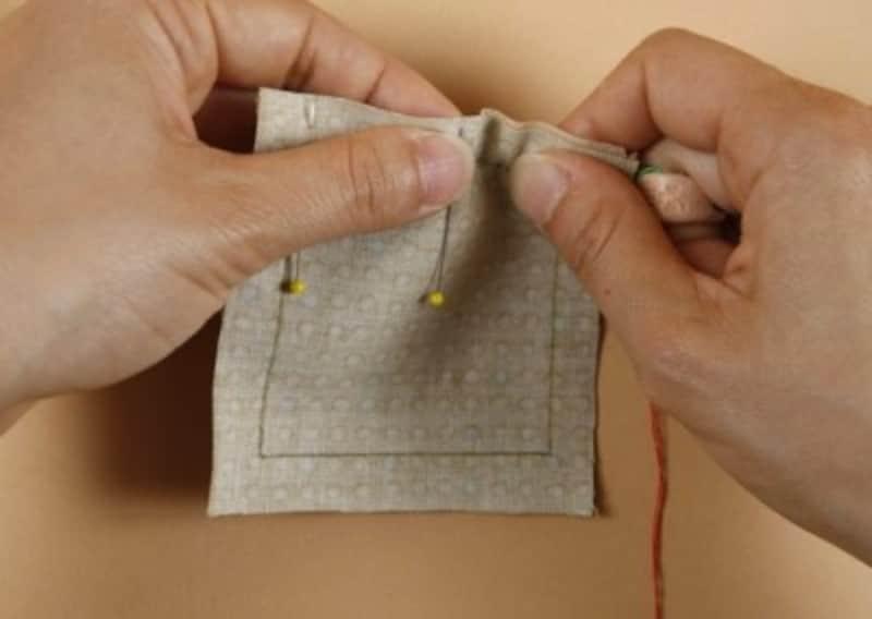 布を張って縫い進める