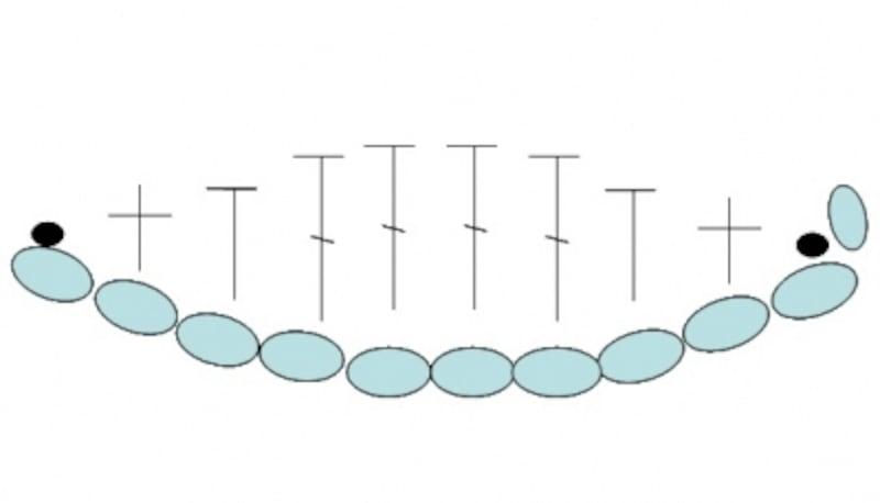葉の編み図