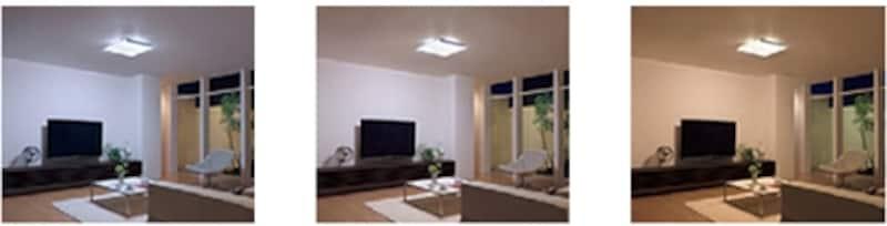 (左)昼光色undefined(中央)昼光色+電球色undefined(一番右)電球色。LED照明は明るさや色を多彩に変えることができる