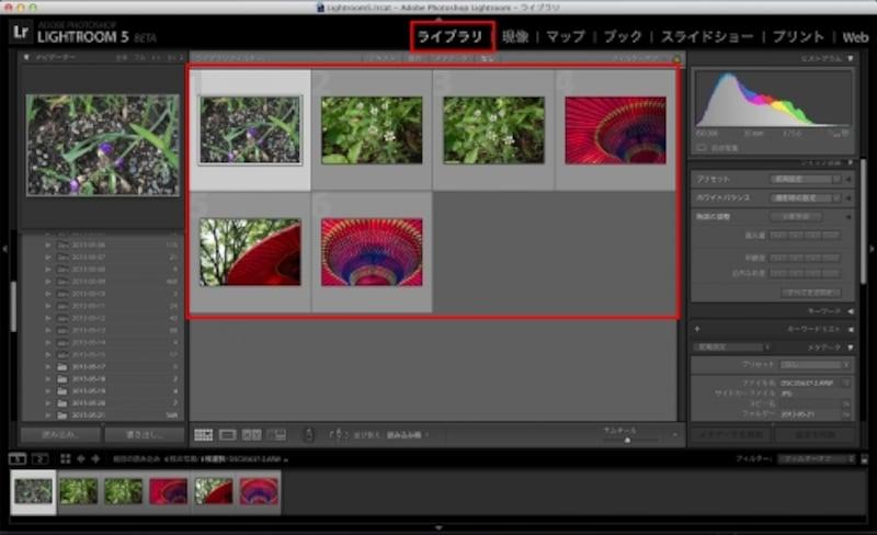 Lightroomの「ライブラリ」に、今回読み込まれた画像の一覧が表示される。