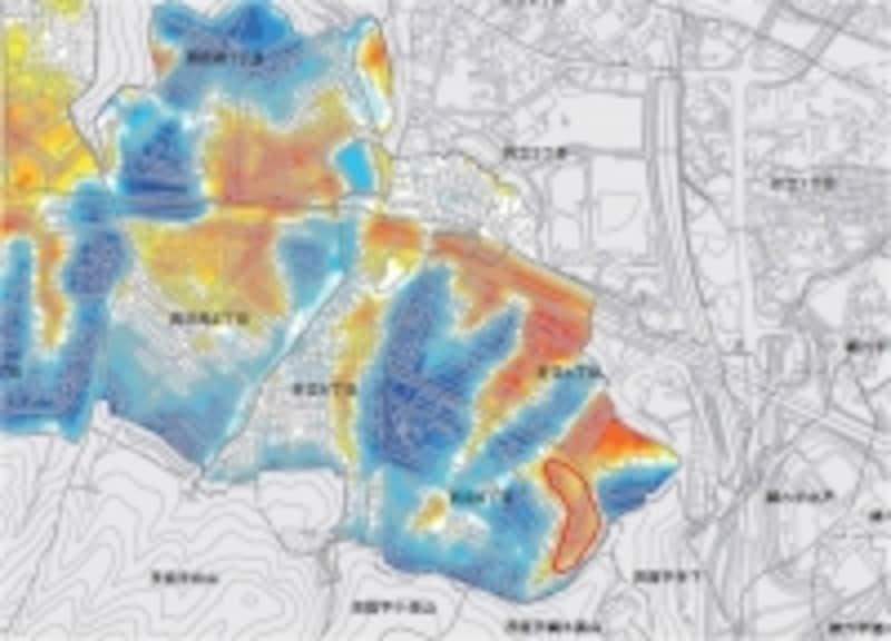 仙台市青葉区折立地区の切り土・盛り土図(一部)。赤丸はガイドが追記。