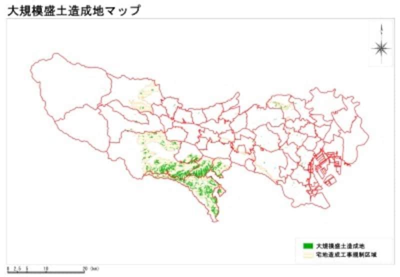 東京都全体の大規模盛土造成地マップ(出典:東京都都市整備局)