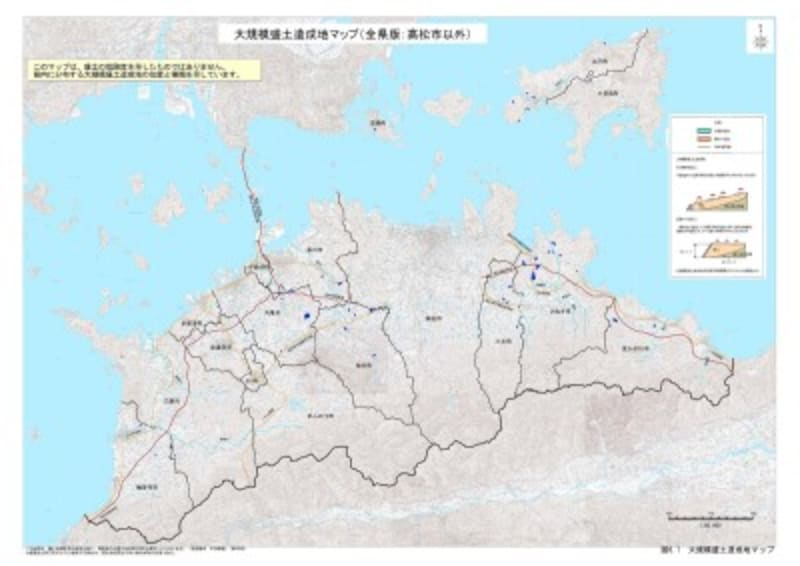 香川県全体の大規模盛土造成地マップ(出典:香川県)