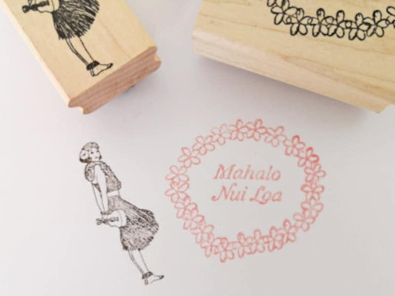 手紙にポンと押したいラバースタンプ。「MAHALONUILOA」は、ハワイ語でどうもありがとうの意味