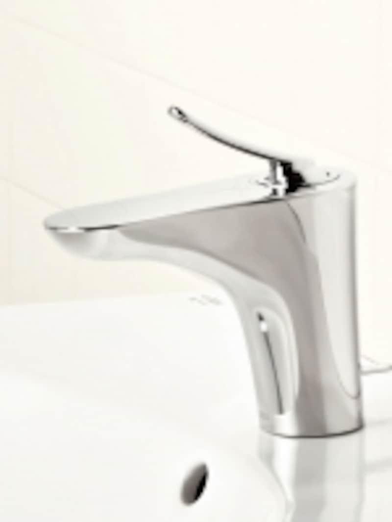 良く使うハンドル正面の位置で水を出す設計。無意識に使っているお湯の無駄使いを防止。[エコハンドルundefined洗面器・手洗器用水栓金具]undefined