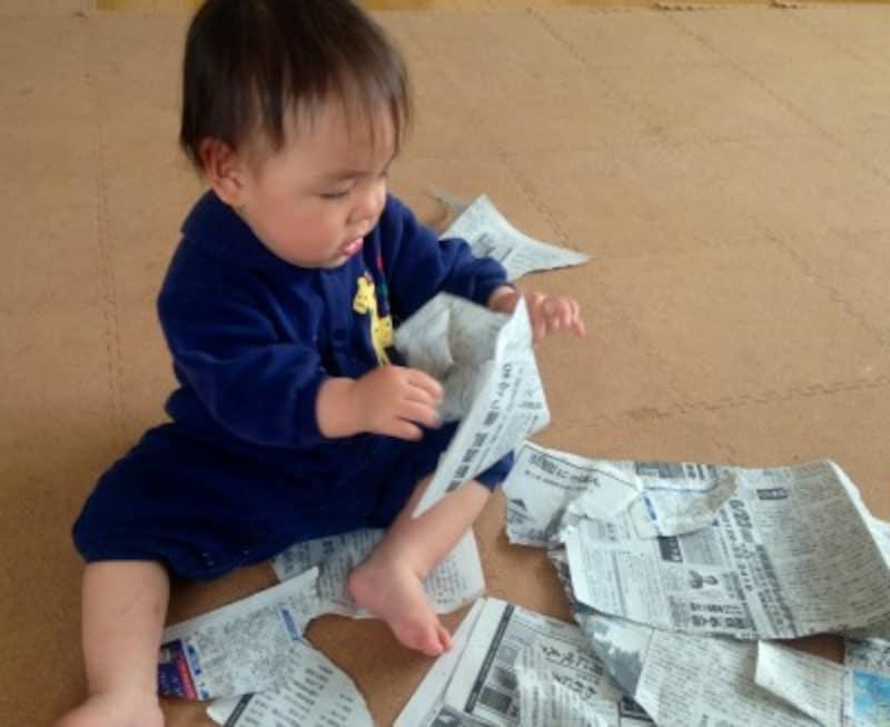 結構はまる新聞紙びりびり