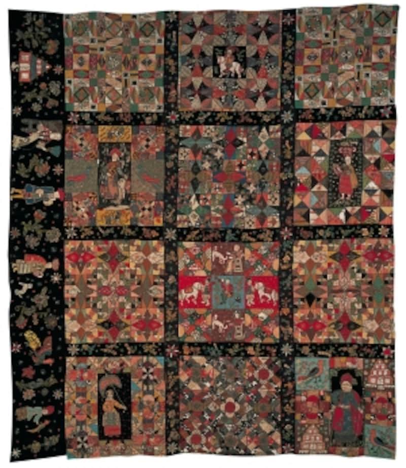 「貴婦人のキルト」undefined1680-1700年イングランド。大変貴重な布を使ってパッチワークやアップリケした見事な作品。大変な時間を掛けて制作されたと思われる。188×162.5cm(RonSimpson所有)