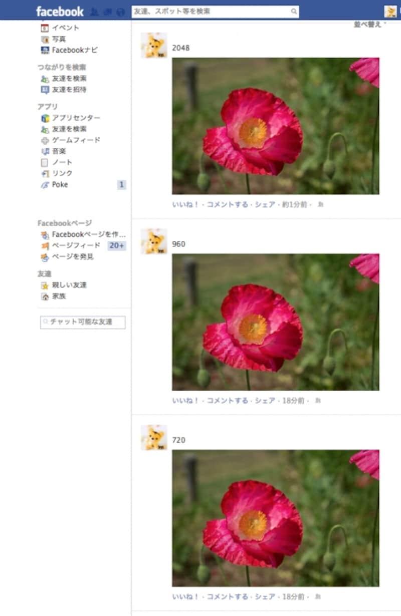 タイムライン上の元は2048、960、720ピクセルの写真。いずれも398ピクセルに縮小表示されるので、画質の差はほとんどわからない。