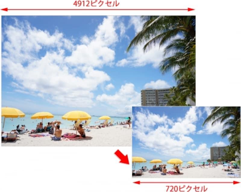 大きいサイズの画像を「720」ピクセルぴったりにリサイズするにはどうすれば?