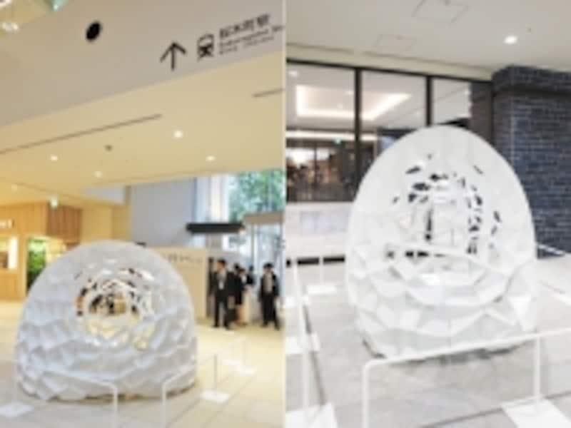 1階吹き抜け空間(左)と地下4階みなとみらい線接続口(右)では「noizarchitects.」デザインのパブリックアートがお出迎え