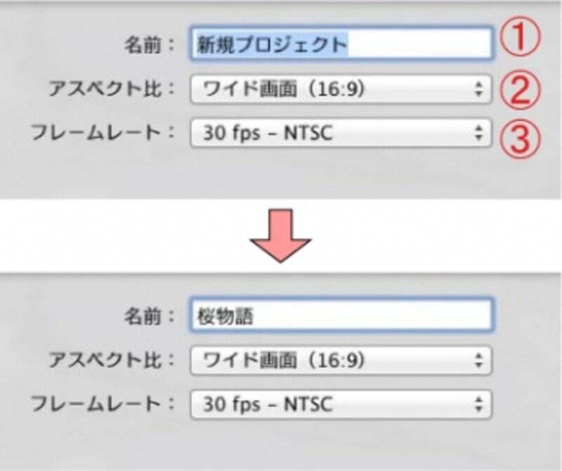 1)プロジェクト名を入力する2)アスペクト比は「ワイド画面(16:9)」を選択する3)フレームレートは「30fps-NTSC」を選択する